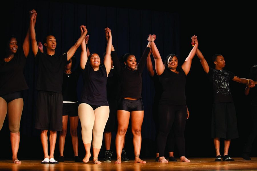 Students stand together after a performance at the Second Annual Black History Month Program.