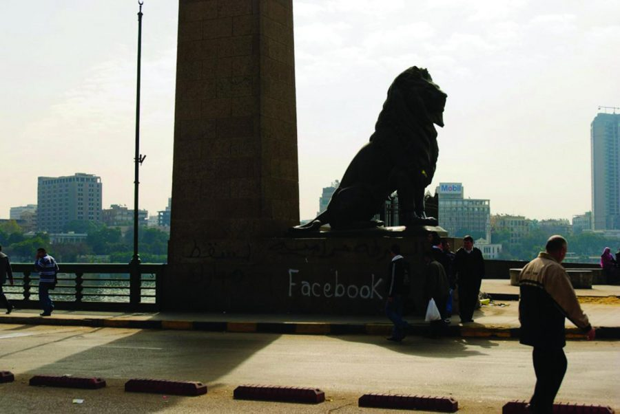"""Demonstrators at the """"March of Millions"""" in Cairo Feb. 1. Social media was used heavily by area protesters."""