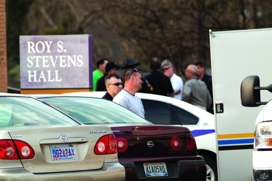 Officials+gather+during+the+Stevens+Hall+investigation+last+Thursday.