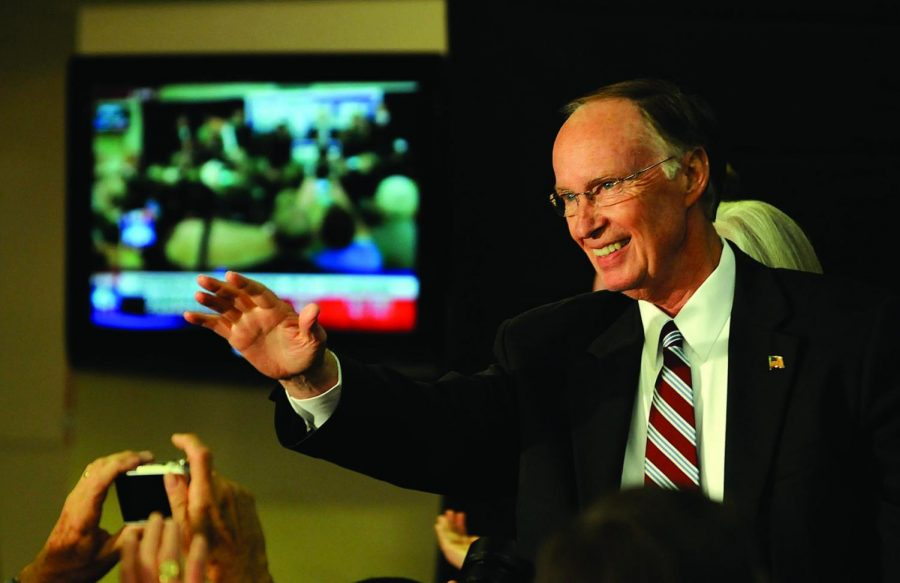 Robert Bentley greets supporters gathered at Bryant-Denny Stadium after defeating Ron Sparks in the governors race on Tuesday, Nov. 2, 2010, in Tuscaloosa, Ala. (AP Photo/The Birmingham News,Michelle Campbell)