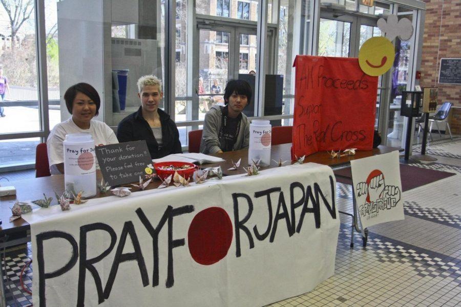 Members of Japanese University Meal Project raise money for relief efforts in Japan March 18 in the GUC Atrium. UNA has already raised more than $1,200 in donations.