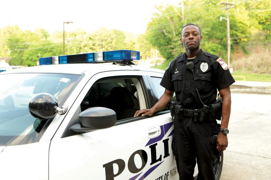 UNA police officer Edward Rhodes (above) is one of many officers who patrol the campus.