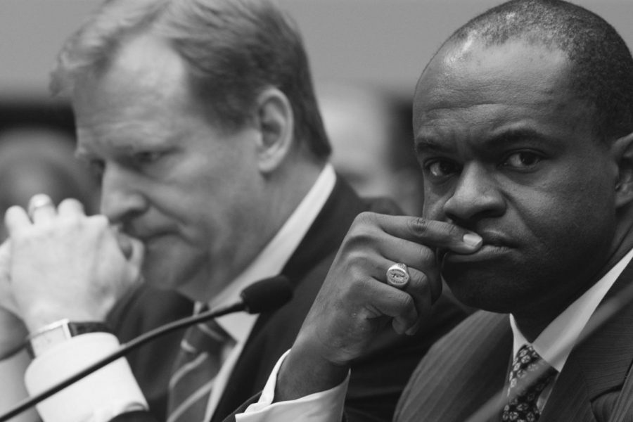 NFL Commissioner Roger Goodell (left) and NFLPA Executive Director DeMaurice Smith (right) shows concern during a hearing about the labor dispute earlier this spring.