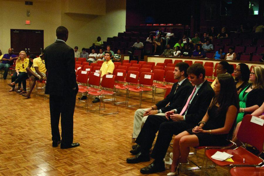 SGA President Ralph Akalonu speaks to students at the State of the Association address Sept. 13.
