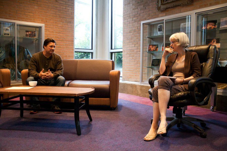 """Charlton James (left) and Lesley Peterson (right) rehearse on Sept. 5. for """"The Guys."""""""