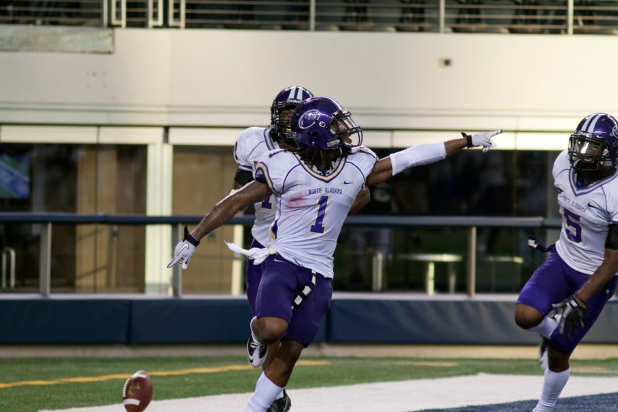 Senior cornerback Janoris Jenkins celebrates in the endzone after his 50-yard fumble return for a touchdown during last week's game against Abilene Christian.