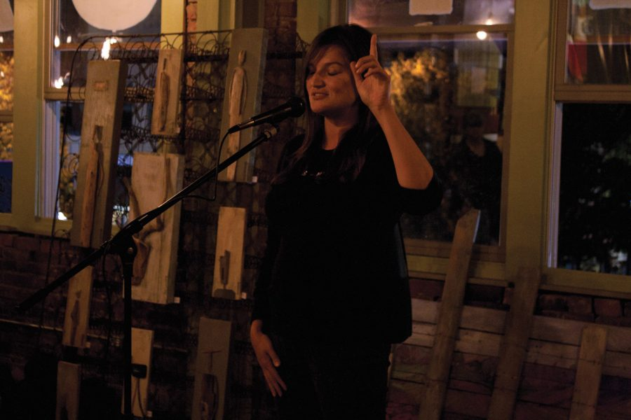 Myra+Hammond+performs+a+spoken+word+piece+at+last+month%E2%80%99s+Boxcar%0AVoices+at+the+Route+of+Art+Gallery.%0A