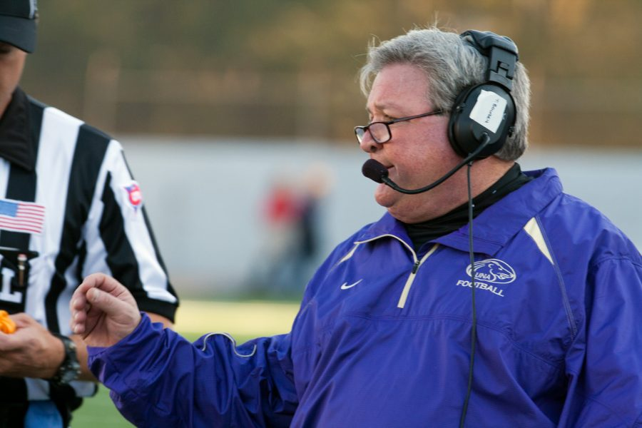 Terry Bowden coaching from the sidelines at Nov. 5s football game. Whether he will be there this next time next year is still unknown.
