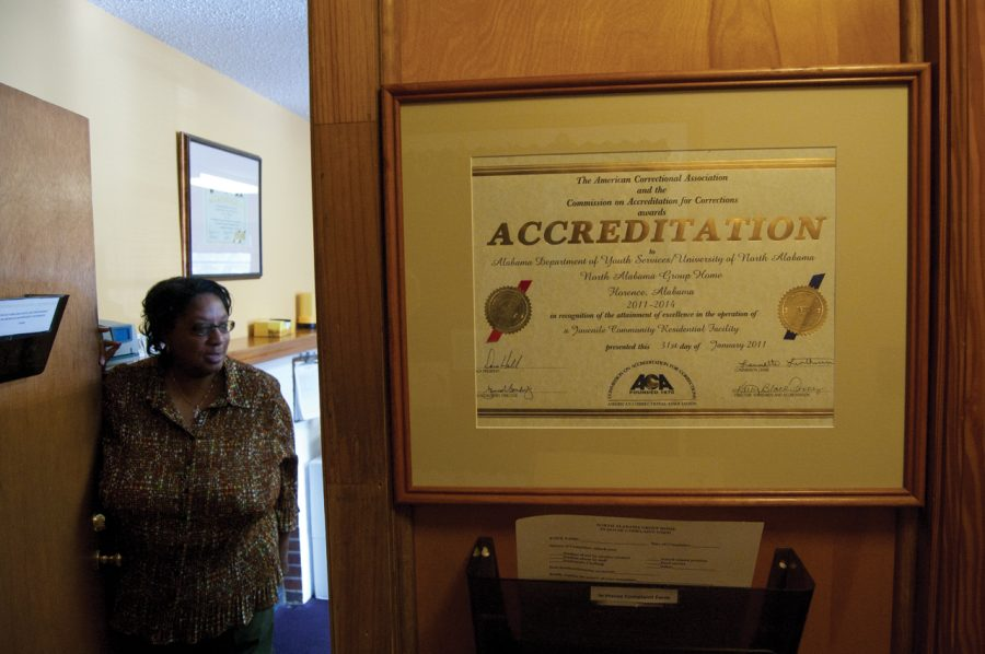 Jackie Winston, program and projects coordinator at the North Alabama Group Home, gives a tour of the facility Feb. 16.