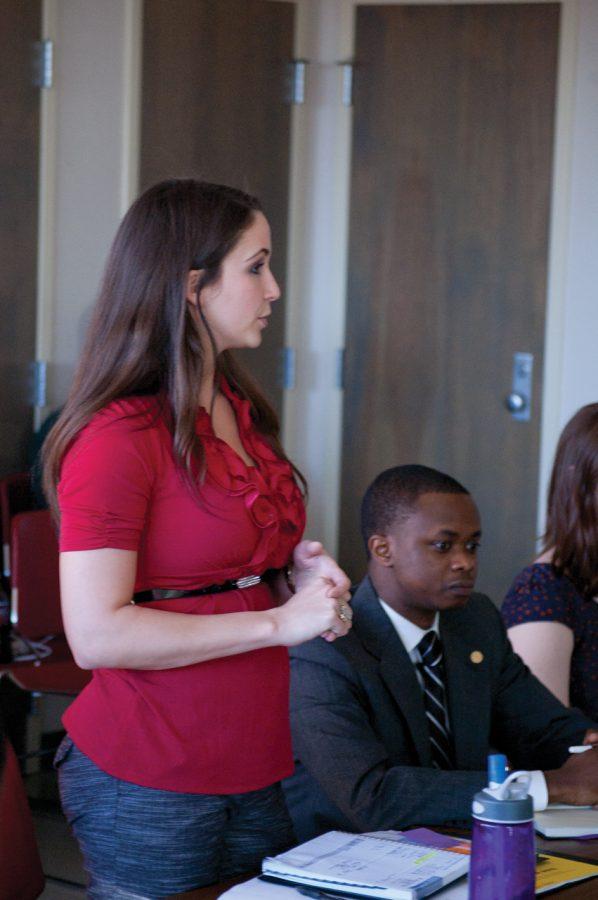 SGA Vice President of Senate Emily McCann addresses the Senate last week in their weekly meeting.