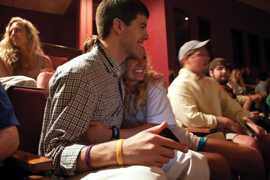 UNA junior Will Riley hugs his girlfriend, Kaitlin Chappell, in the GUC performance center March 14 after learning he would be next year's Student Government Association president.