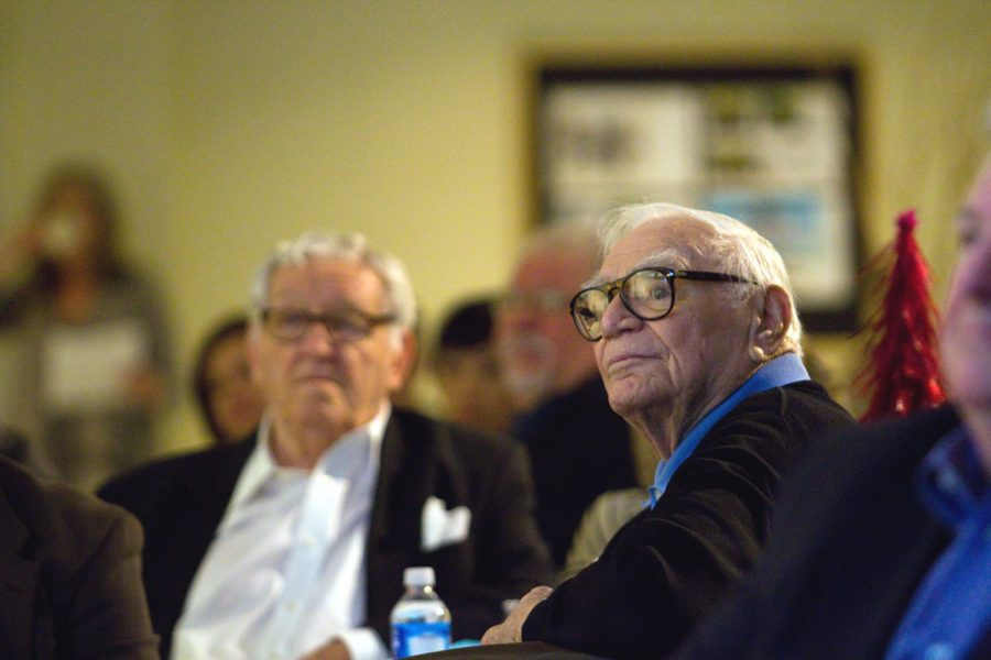 Ernest+Borgnine+and+George+Lindsey+listen+to+the+awards+ceremony+at+the+15th+Annual+George+Lindsey+UNA+Film+Festival.+Lindsey+returned+to+the+festival+after+an+absence+due+to+health+complications.%0A