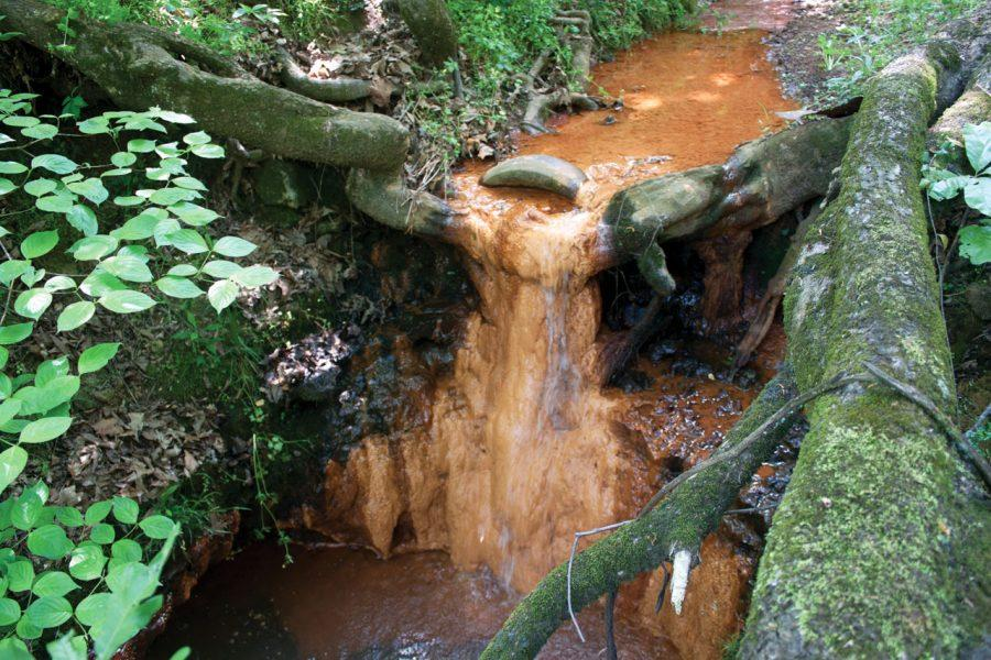 A waterfall causes a stalagtite of iron and manganese deposits to drip down tree roots at the Wallace Spring location. The deposits are caused by leachate escaping from the landfill.