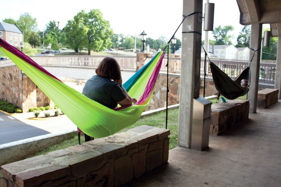 LaGrange+Hall+residents+Sara+Chaffin+and+Ashley+Ravenscraft+relax+in+hammocks+outside+the+healthy+living+residence+hall+on+campus.%0A