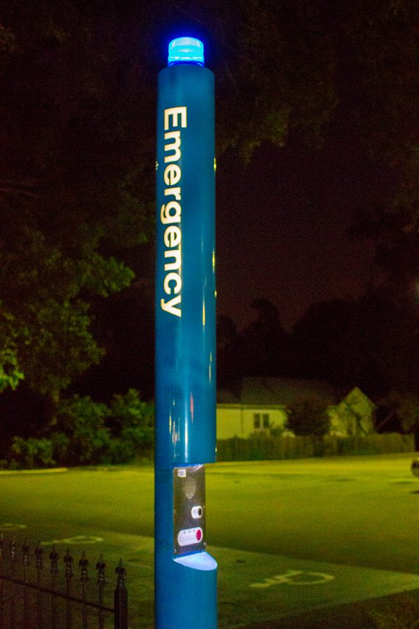 An emergency UNA police beacon overlooks the visitor parking lot on campus. Plans for a new police dispatch center, which had funding approved for its construction last year, have been put on hold due to a lack of critical need.