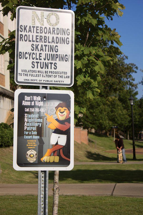 Though+signs+posted+throughout+UNA%E2%80%99s+campus+prohibit+skateboarding%2C+many+students+think+the+activity+should+be+allowed.+And%2C+according+to+UNA+Police+Chief+Bob+Pastula%2C+concessions+could+be+made+to+accomodate+skateboarders.%0A