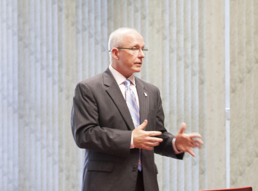 Vice President for Student Affairs David Shields speaks during an open forum Oct. 9.