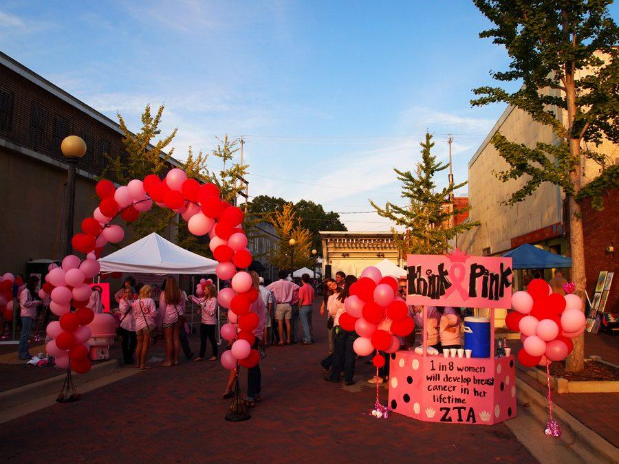 Zeta Tau Alpha sorority hosts its Pink Party on Mobile Plaza in downtown Florence.
