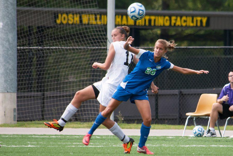 Chloe+Richards+and+UWF%E2%80%99s+Alex+Pickrell+square+off+during+the+Sept.+16+regular+season+game+at+the+UNA+soccer+field.+UWF+defeated+the+Lions+for+the+GSC+title+Nov.+4+in+Pensacola%2C+Fla.%0A