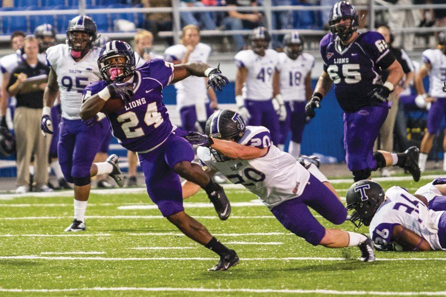 Lion running back Lamonte Thompson breaks an attempted tackle by Tarleton State's Chance Wallace for a gain of 41 yards in the Nov. 3 game at Braly Stadium, which the Lions lost 38-28.