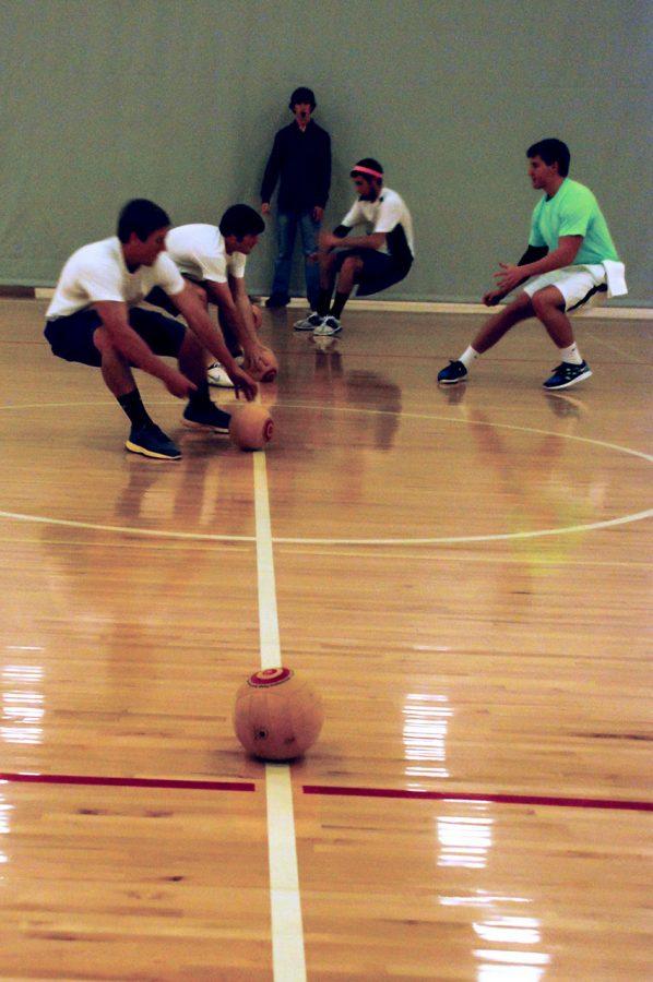 Students+compete+in+the+Nov.+7+inaugural+Phi+Mu%2FSigma+Chi+dodgeball+tournament+at+the+SRC.%0A