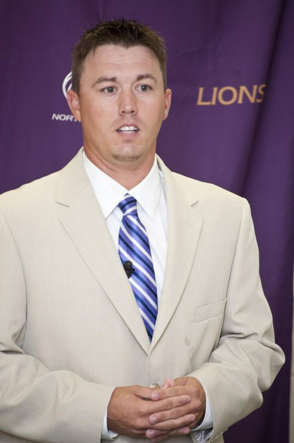 Lions%E2%80%99+new+head+softball+coach+Jason+Anderson+speaks+at+his+introductory+press+conference+on+June.+28%2C+2012.+Anderson%2C+from+Central+Baptist+College%2C+thinks+he+can+lead+the+team+to+success+this+season.%0A