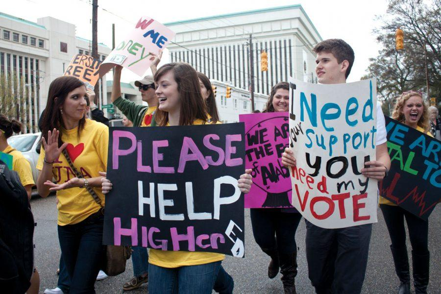 UNA students march through Montgomery during Higher Education Day 2012. Higher Education Day is a way for college students across Alabama to come together in support of more funding for higher education. Higher Ed Day 2013 will be held Feb. 28 in Montgomery.