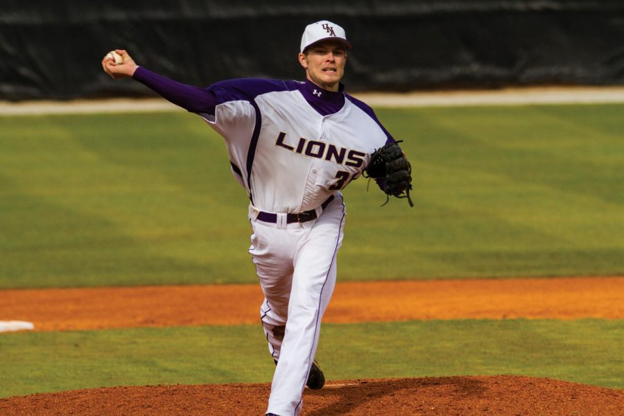 Chad Boughner pitches for the Lions in the Feb. 23 shutout doubleheader against Kentucky State at Mike Lane Field.