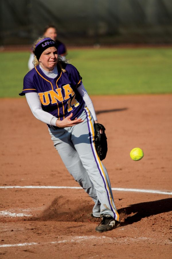 UNA pitcher Haley Barnette pitches in the Feb. 8 game at home against Miles College. Barnette and Breanna Riley pitched a shutout against Christian Brothers University April 7.