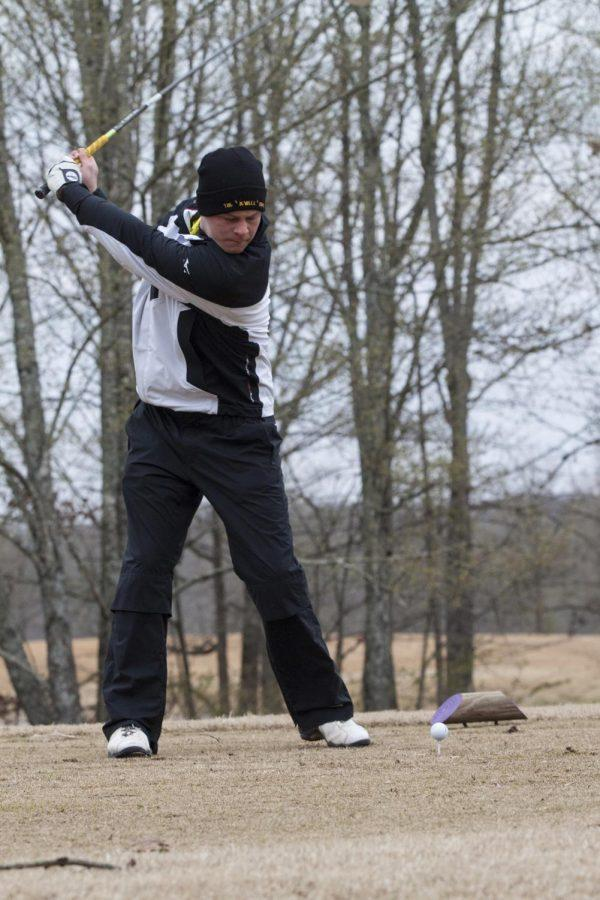 Ricky Stiments takes a swing at the Jim Bishop Toyota Spring Classic at the Robert Trent Jones Golf Trail at the Shoals Fighting Joe Course March 26.