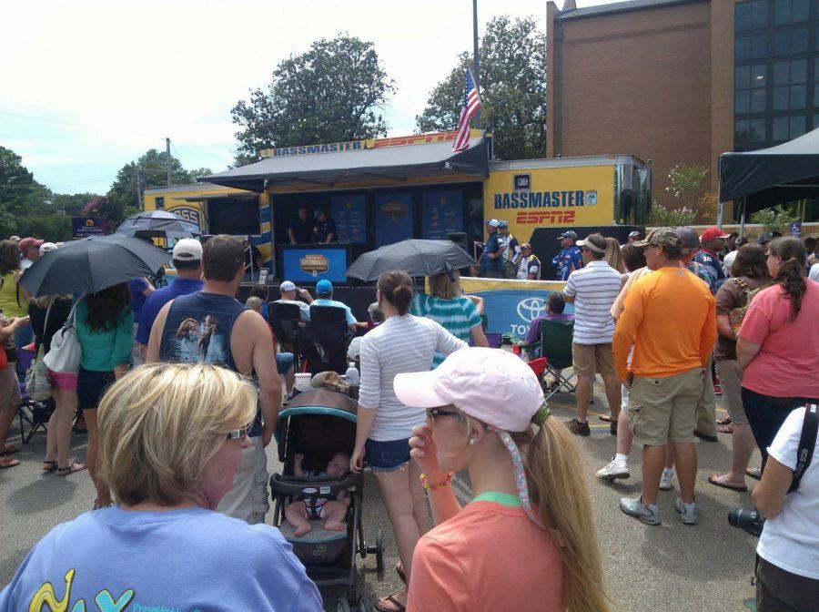 Dozens crowd around the weigh-in station courtesy of ESPN 2 at Pickwick Lake June 28.