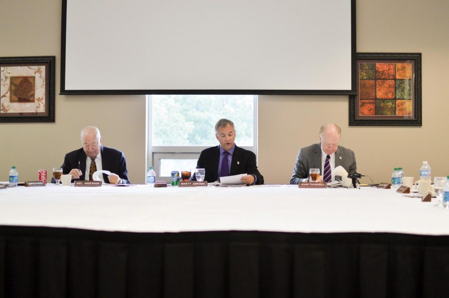Trustee Joel Anderson, President Pro Tempore of the board of trustees Marty Abroms and Interim University President John Thornell participate at the boards quarterly meeting Sept. 8.