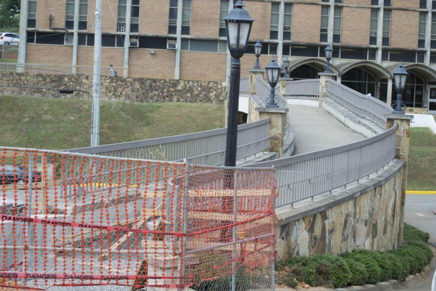 The bridge in front of LaGrange Hall is not accessible while construction of a new walkway takes place.