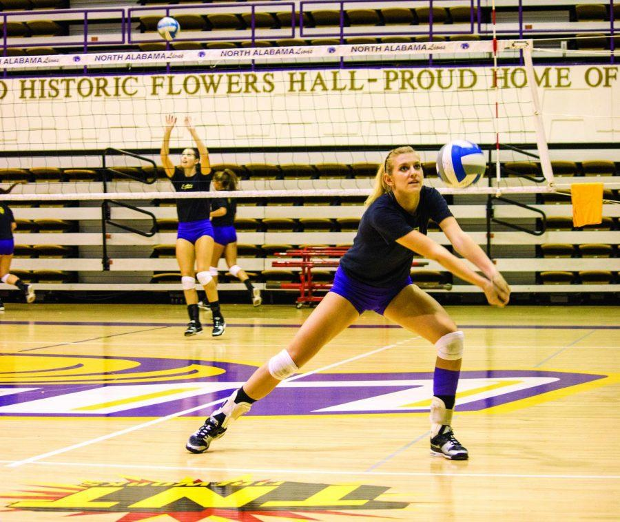 Senior+outside%2Fmiddle+hitter+Megan+Gorey+passes+the+ball+during+practice+Aug.+28.+Gorey+received+preseason+All-GSC+team+honors.