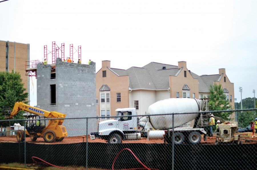 Construction of two new residence halls continues during September. One hall is expected to open August 2015, followed by the second in January 2016. Vice President for Student Affairs David Shields said if the openings are delayed, students will be housed in Rice Hall, Rivers Hall and LaGrange Hall.