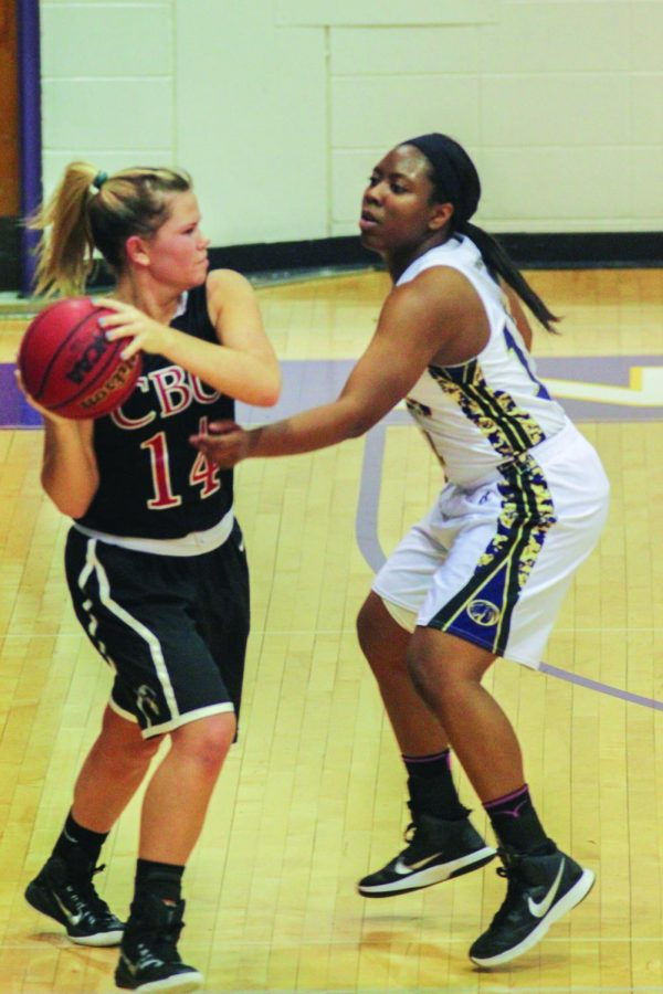 Senior guard Delisa Madry puts pressure on a Christian Brothers University player Jan. 10. The Lions won 53-46. UNA looks to compete on a four-game road trip without key players due to injury.