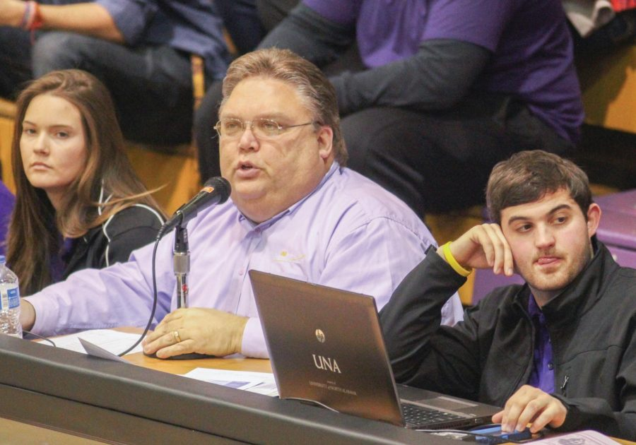 UNA+public+address+announcer+Jerome+Gafford+calls+a+basketball+game+against+Christian+Brothers+University+Jan.+10.+Gafford+has+served+as+the+football%2C+basketball+and+volleyball+announcer+for+the+past+six+years.