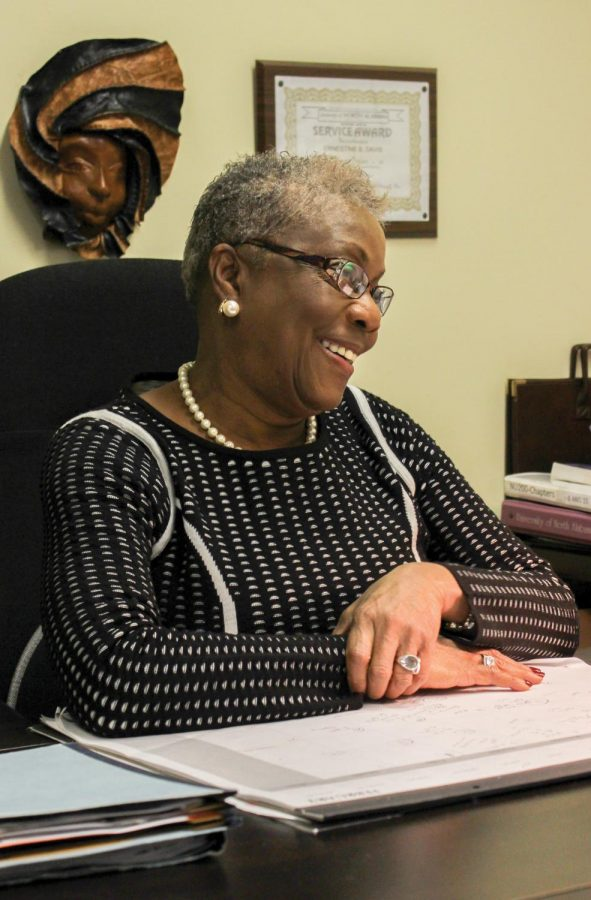 Dr.Davis+talking+about+her+childhood+as+an+African+American+and+how+she+plans+to+spend+her+life+helping+individuals+know+that+they+are+significant%2C+no+matter+their+ethnicity.+She+had+been+working+at+UNA+since+1980.