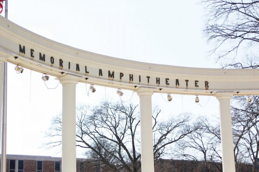 Memorial Amphitheater towers in the center of campus Feb. 10. Students voiced concerns about the need to have the structure cleaned since last year, and Facilities Administration and Planning responded by contracting a company to complete the project.