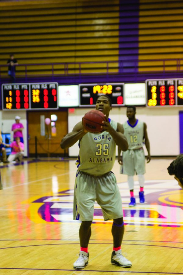 Senior forward Calvin Dade gets ready to shoot a free throw against Lee University Feb. 7. The Lions won 77-67. Dade is averaging 14.1 points and 9.1 rebounds per game on the season.