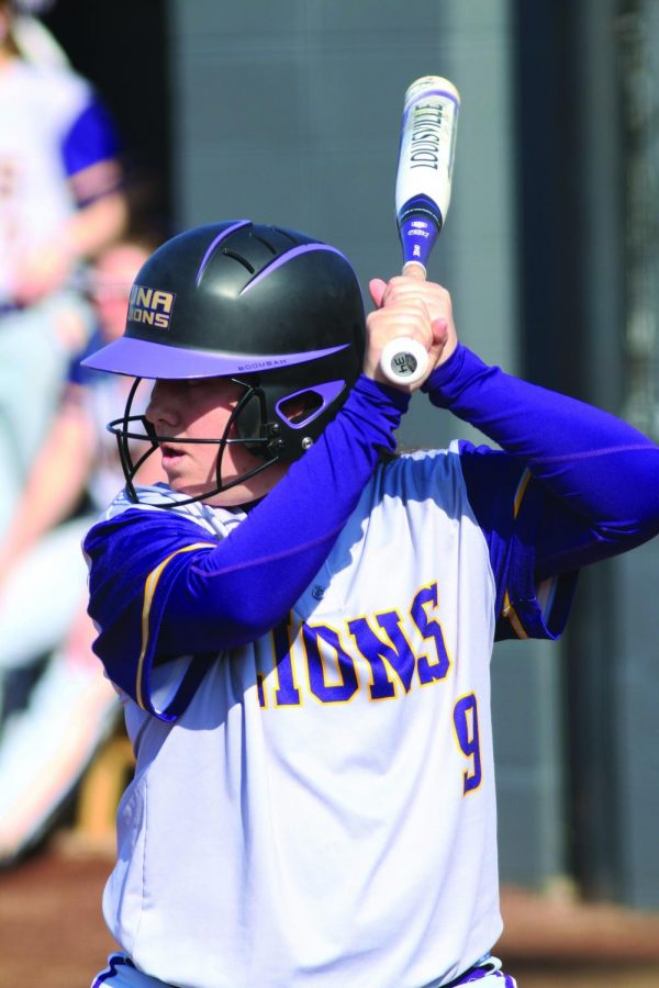 Senior first baseman Brittany Gillison awaits a pitch against the University of West Alabama Feb. 28. Gillison leads the team in batting average and is second in home runs and RBIs.