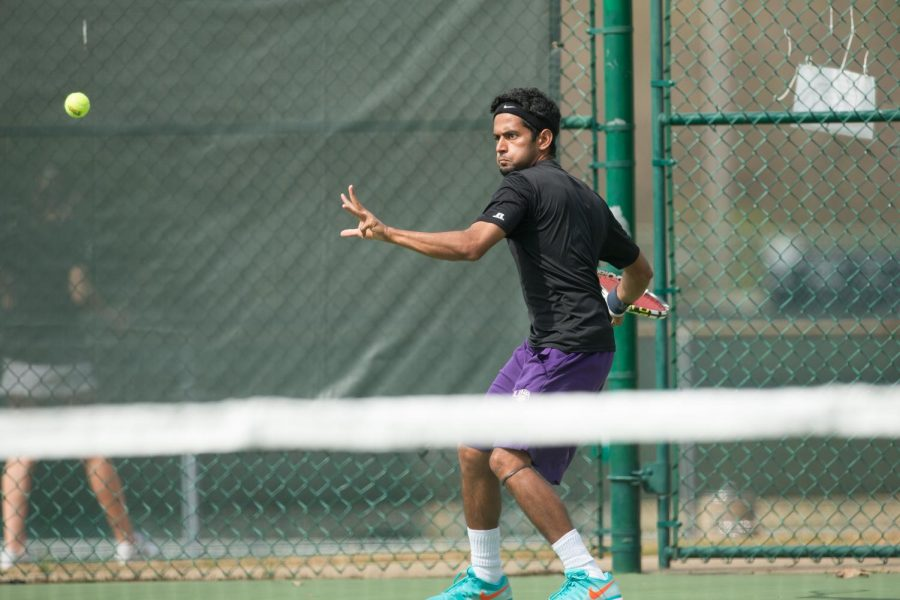 Junior Ali Murad gets ready to hit the ball against Jacksonville State University March 30. The tennis teams start the Gulf South Conference April 17. The women face the University of Alabama-Huntsville in the first round and the men take on either Delta State University or UAH.