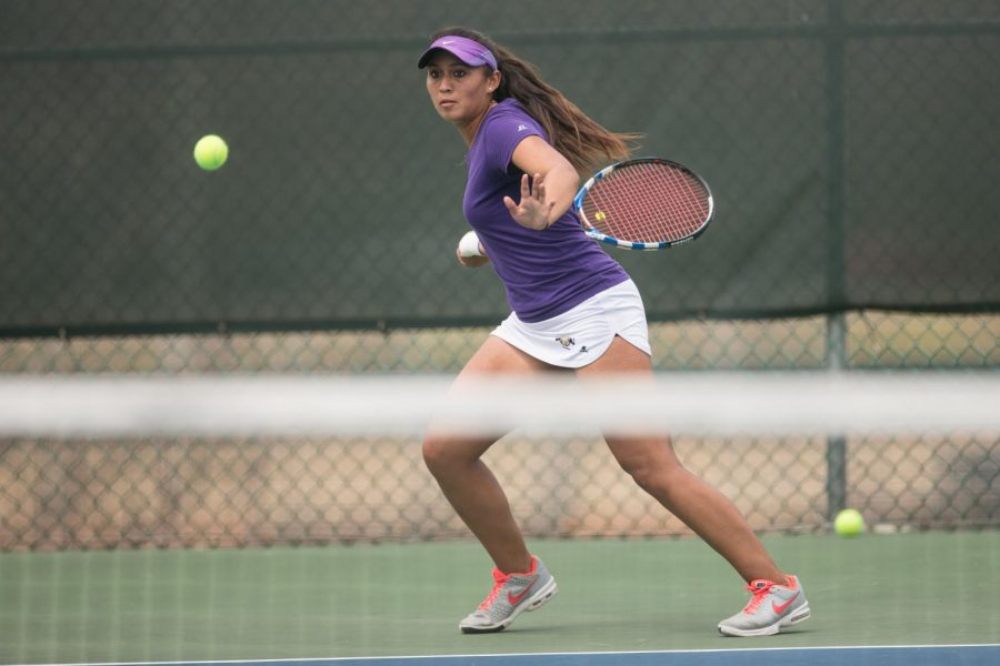 Senior+women%E2%80%99s+player+Natalia+Barragan+gets+ready+to+hit+the+ball+against+Jacksonville+State+University+March+31.+Barragan+is+9-3+in+singles+and+3-2+in+doubles+play+this+season.+The+Lions+face+Christian+Brothers+University+April+10.