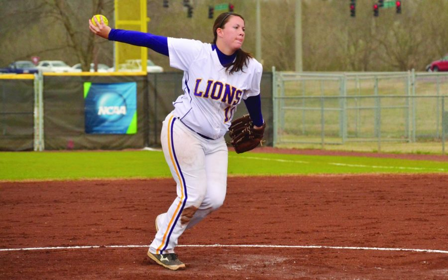 Senior+pitcher+BreeAnna+Blevins+throws+a+pitch+against+Union+University+March+22%2C+2014.+The+Lions+boast+the+second+lowest+ERA+in+D-II+at+1.23.+Sophomore+pitcher+Hillary+Carpenter+has+a+0.57+ERA%2C+which+is+the+best+in+D-II.+Blevins%E2%80%99+ERA+is+1.90%C2%AD+%E2%80%94+sixth+best+in+the+Gulf+South+Conference.