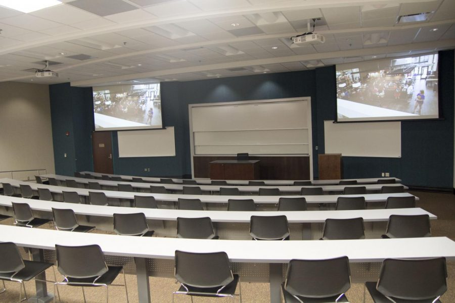 The new science and technology building boasts 40 state of the art classrooms and laboratories. Here is one of the spacious auditorium classrooms.
