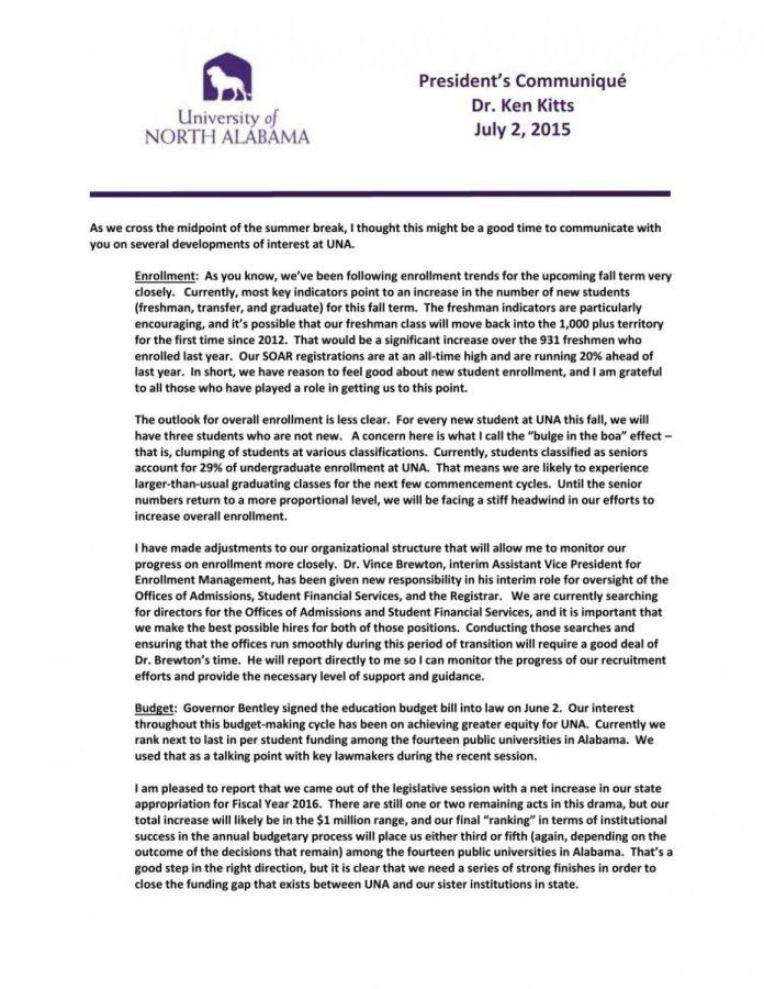President+Kitts+shares+UNA+campus+update+in+letter