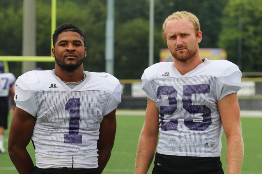 UNA+wide+receivers+Dre+Hall+%28left%29+and+Eric+Belew+pose+for+a+picture+during+a+practice+in+preparation+for+their+game+against+Mississippi+College+Sept.+12.+The+Lions+will+play+their+next+game+Sept.+26+against+the+Florida+Institute+of+Technology+at+Braly+Stadium.