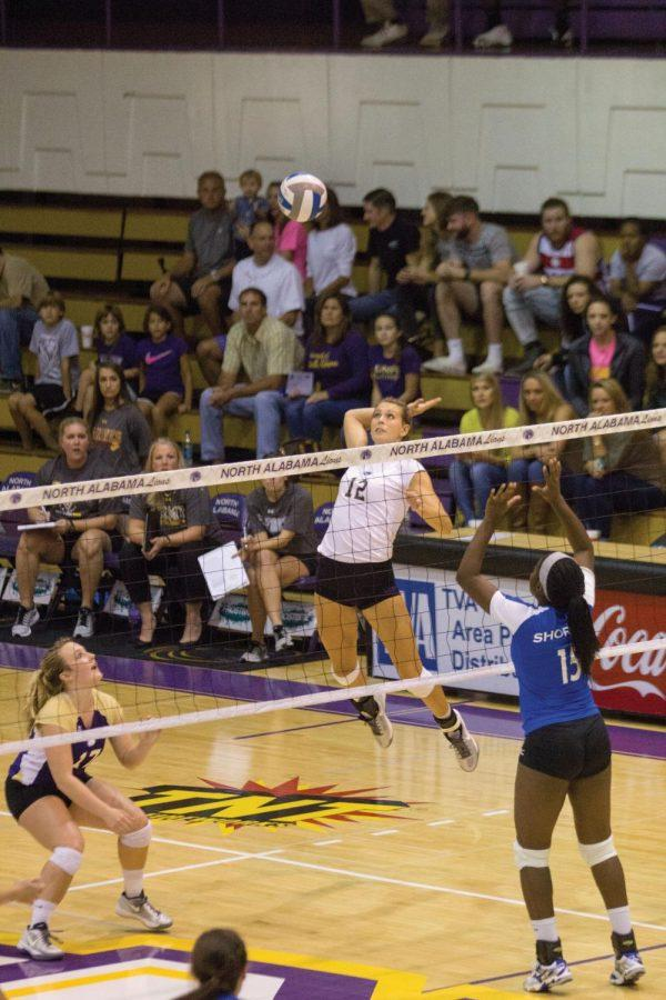 Sophomore+Lexie+Bradley+goes+up+to+attempt+a+kill+for+the+Lions.+The+UNA+Volleyball+team+won+in+three+straight+sets+to+defeat+Shorter+University+Sept.+18.