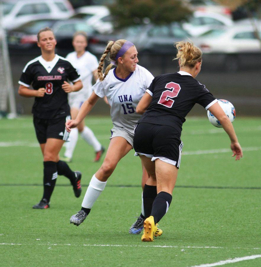Freshman+forward+Kylie+Huey+%2815%29+attempts+to+steal+the+ball+from+a+Cumberland+defender+in+the+UNA+soccer+team%27s+2-1+overtime+victory+Sept.+27.+Huey+is+one+of+the+many+freshmen+making+an+impact+for+the+Lions+this+season.