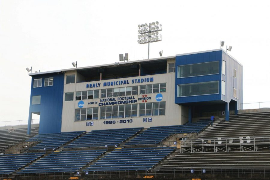 Braly+Municipal+Stadium+sits+ready+for+fans+to+fill+empty+seats+for+its+homecoming+game+against+North-Carolina+Pembroke+Oct.+17.+Braly+is+home+to+the+UNA+Lions+and+the+Florence+Falcons.